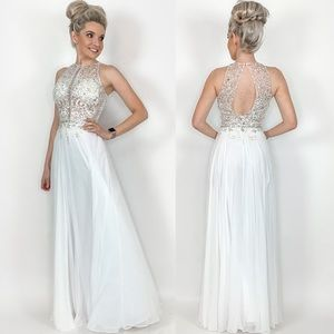 Glamorous White Evening Gown Prom Wedding Pageant